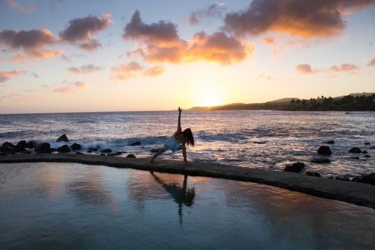 yoga beach sunset girl